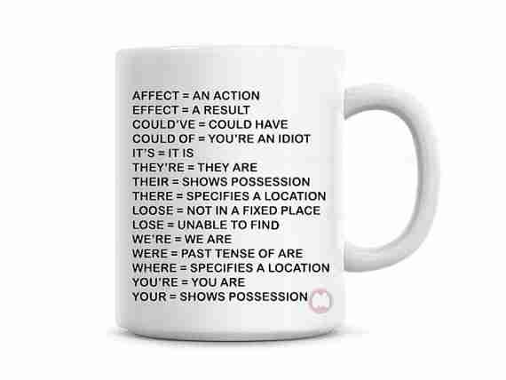 common grammar mistakes mug